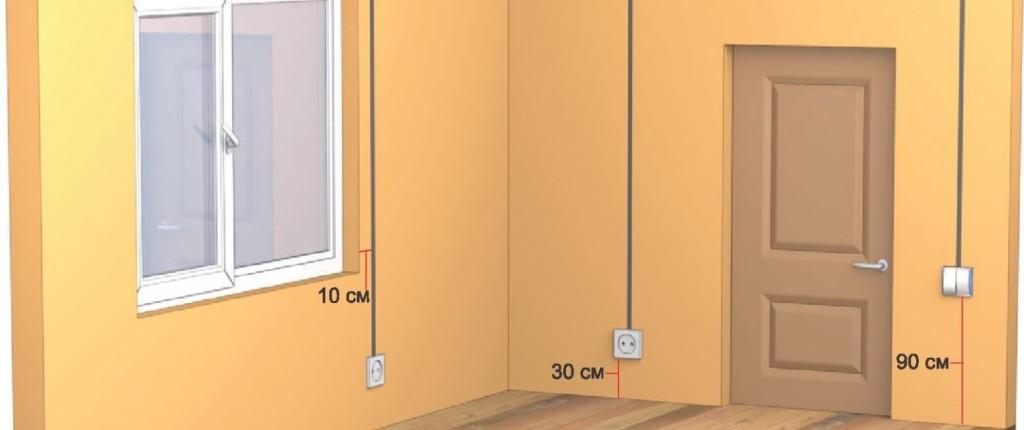 На фото изображены рекомендуемые расстояния для расположения электропроводки