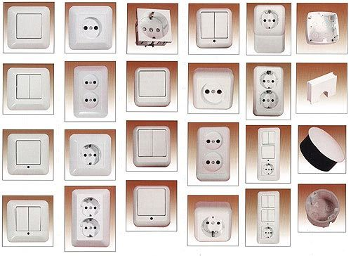 На фото представлены разнообразные розетки и выключатели