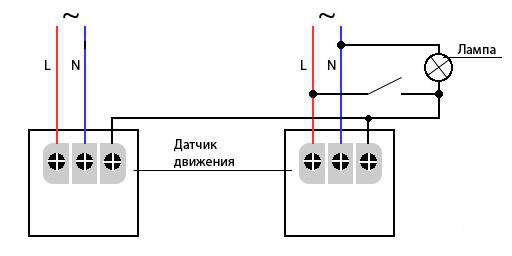 На фото приведена схема подключения двух датчиков движения