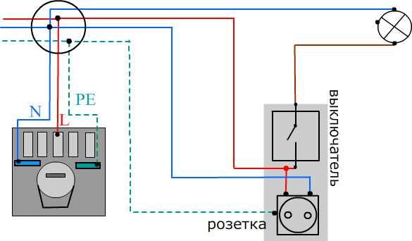 Подключение выключателя с использованием только фазы розетки
