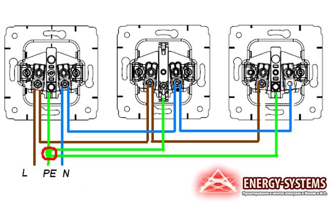 На фото представлена схема подключения нескольких розеток последовательно