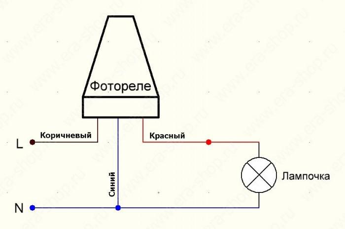 Подключение фотореле со строенным силовым блоком