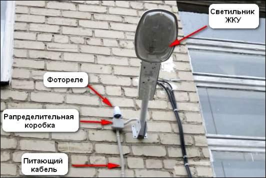 Место установки датчика освещенности