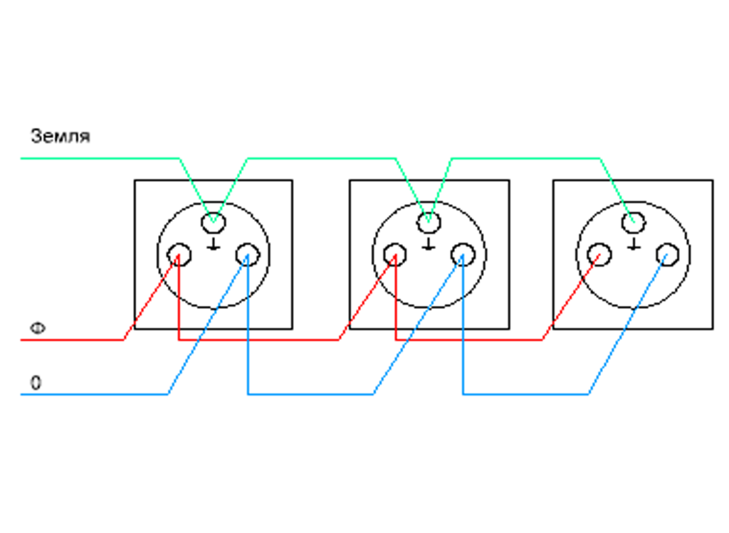 Схема подключения тройной розетки