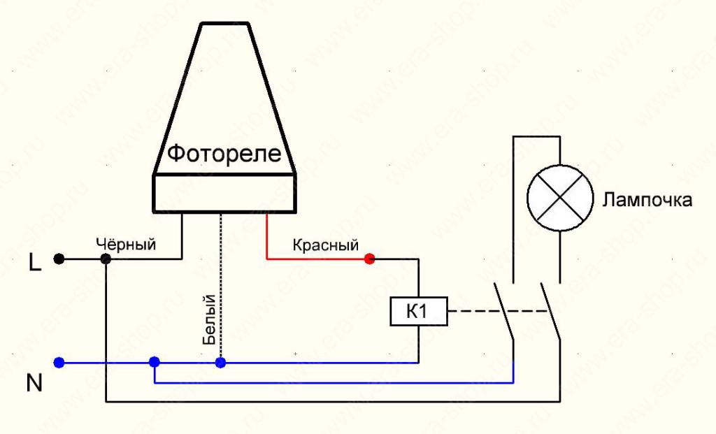 Схема включения освещения от датчика освещенности через пускатель