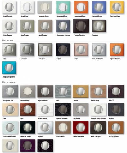 Разнообразие цветовых решений для розеток и выключателей