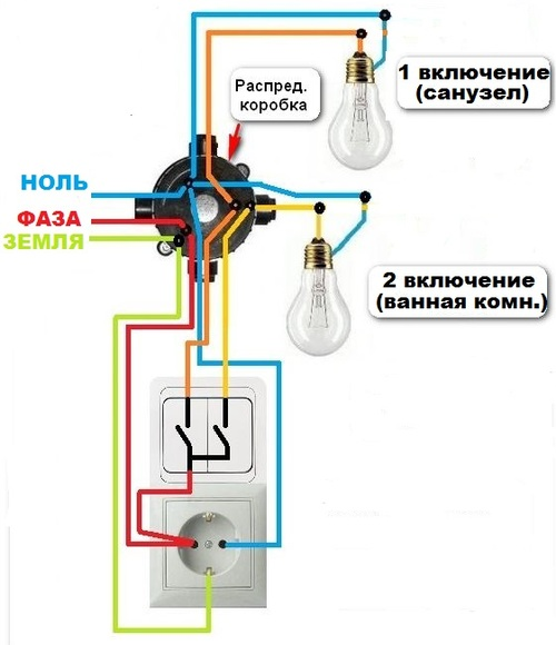 Схема подключение выключателя от розетки только фазным проводом