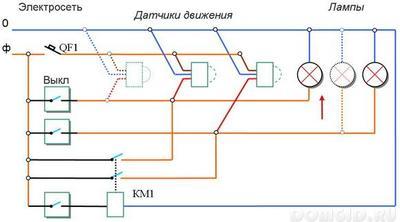 Схема подключения датчиков движения для включения освещения