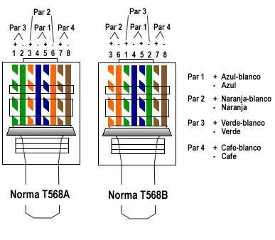 На фото представлены общепринятые нормы подключения кабелей витой пары