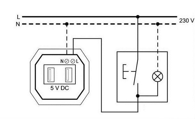 На фото представлен способ подключения USB розеток через выключатель