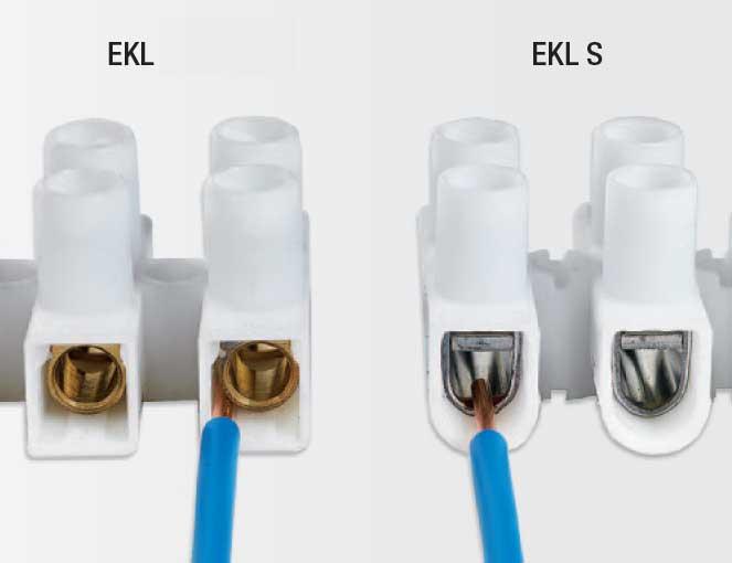 На фото показан правильный монтаж провода винтовыми клеммами