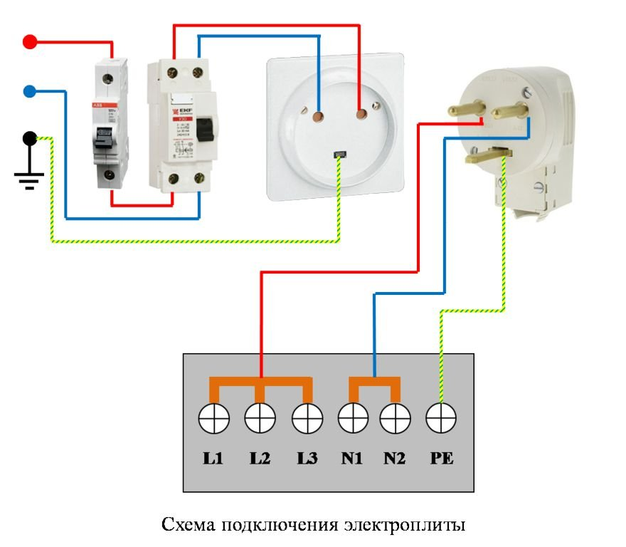 На фото представлена схема подключения электрической печи к сети 220В