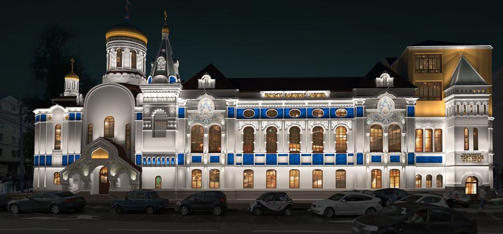 Архитектурный ансамбль с заливной подсветкой