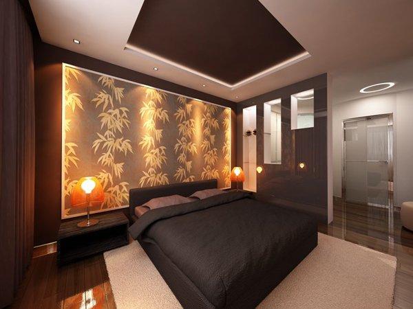 Декоративное освещение прикроватной стены