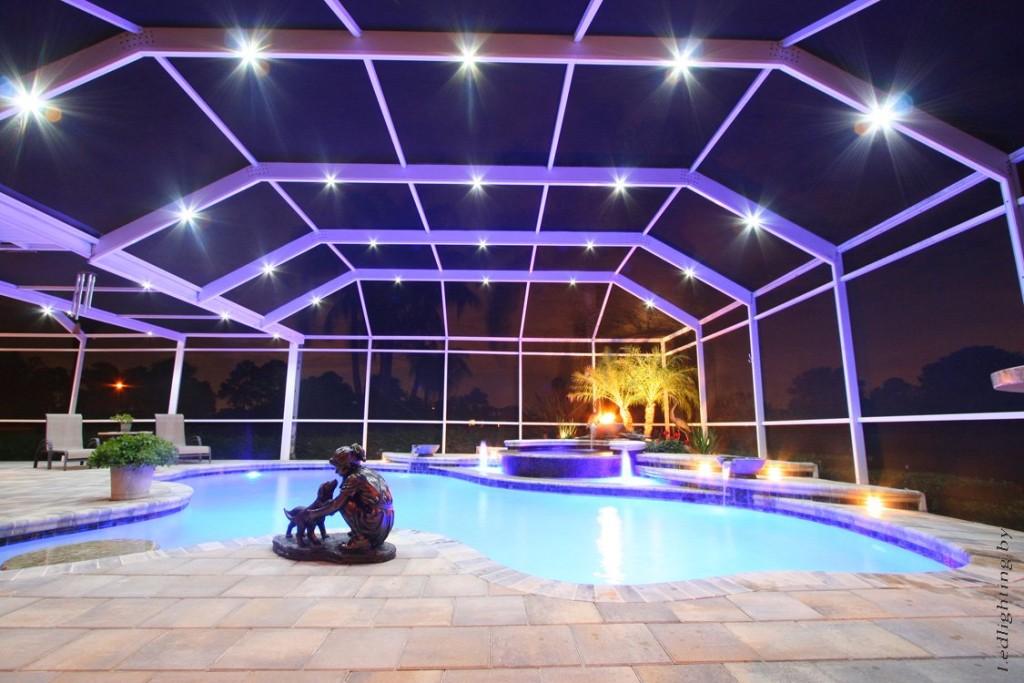 На фото бассейн, подсвеченный светодиодными фонарями
