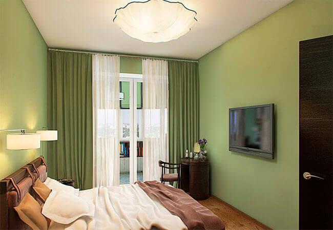 Общее освещение спальни с помощью потолочной люстры