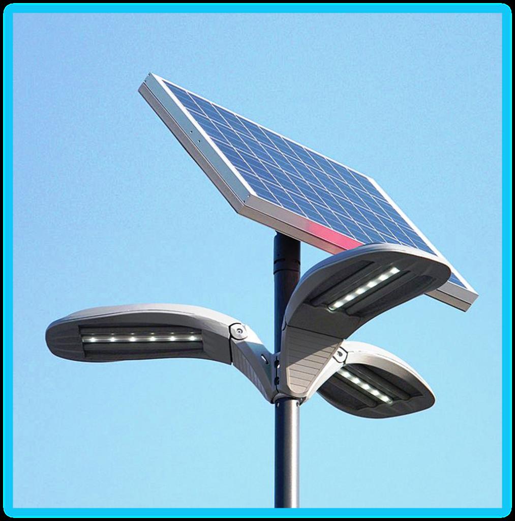 Уличные фонари с дополнительным источником питания от солнечной энергии