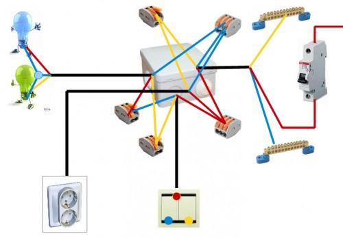 На фото представлен вариант подключения конечной распределительной коробки