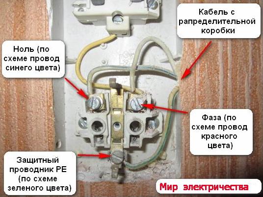 Подключаем от розетки выключатель