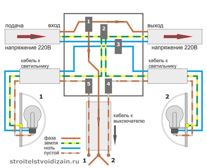 Подключение двухклавишного выключателя в распределительной коробке