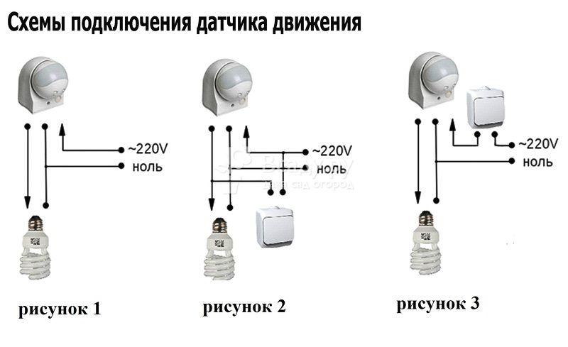 Способы подключения датчиков движения и освещенности