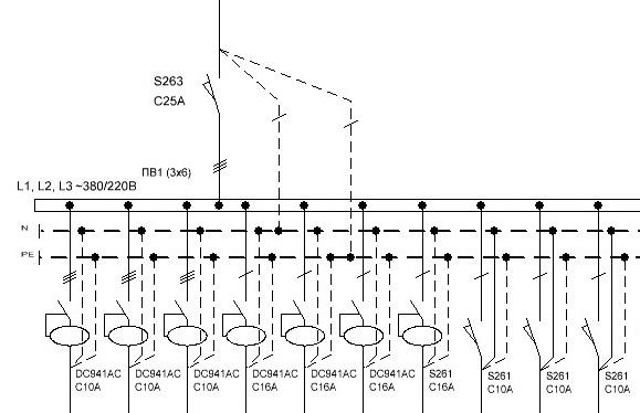 Трехлинейная схема распределительного щита
