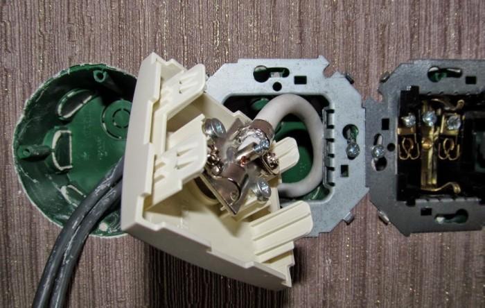 Монтаж и устройство проходной розетки TV