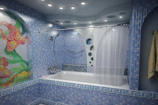 Зональное освещение в ванной комнате