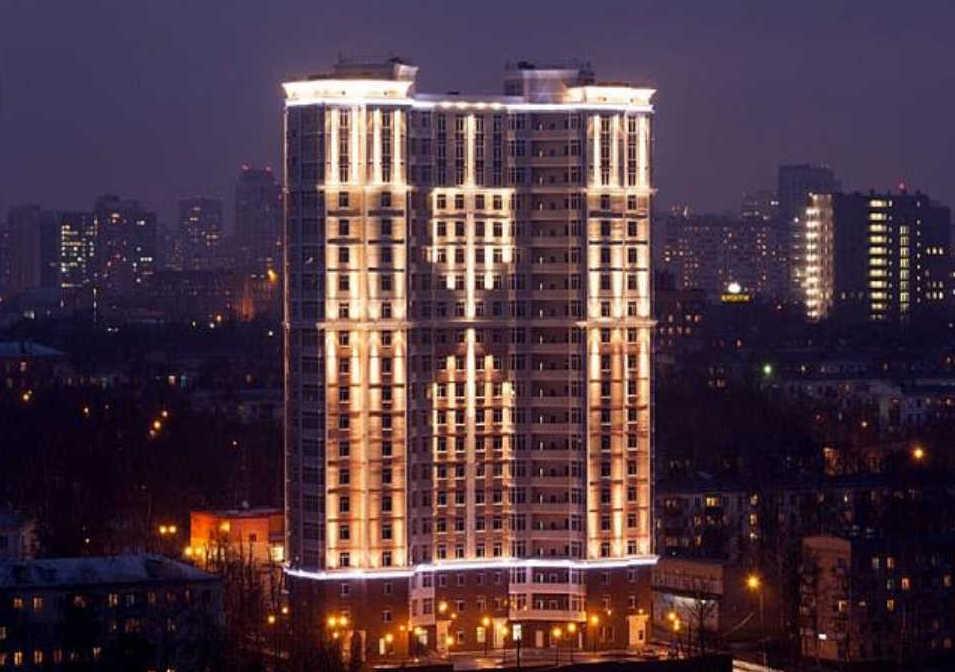 Пример архитектурного освещения в городе