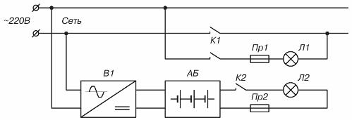 Схема подключения светильников аварийного освещения со встроенным аккумулятором