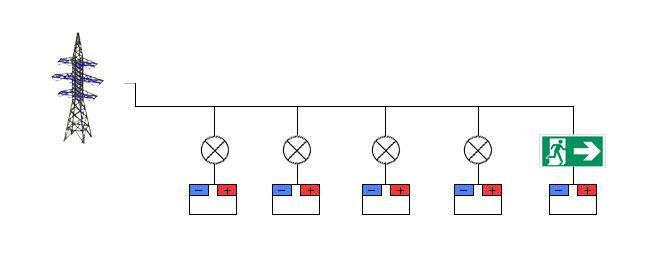 Схема подключения светильников с индивидуальными аккумуляторными батареями