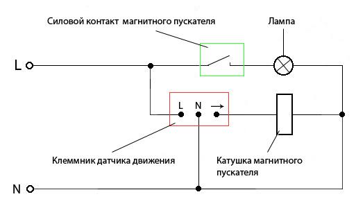 Схема включения освещения магнитным пускателем от датчика движения