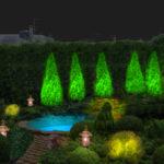 Подсветка отдельных элементов сада