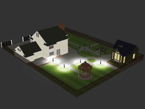 Распределение светильников по территории участка