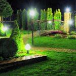 Заливающее освещение лужайки