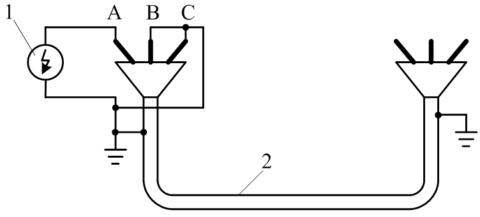 Схема испытания провода повышенным напряжением