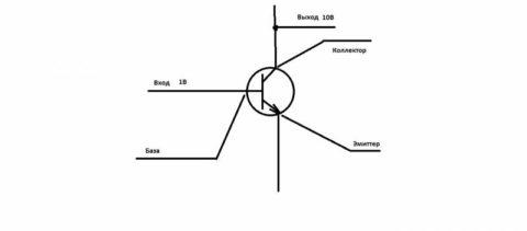 Схема с транзистором без указания прочих элементов схемы