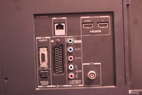 Задняя панель телевизора, с набором различных гнезд