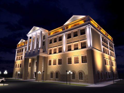 Комбинированное освещение фасада