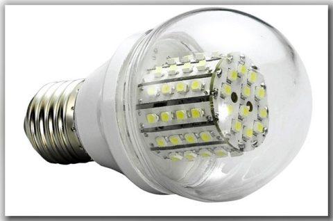 Множество светодиодов внутри одной лампы
