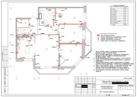 План освещения дома