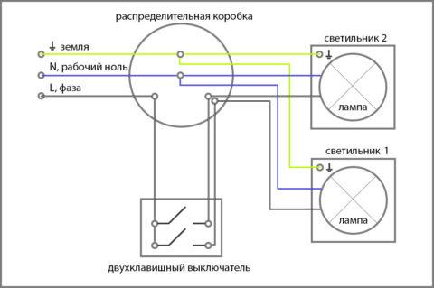 Схема подключения двухполюсного выключателя