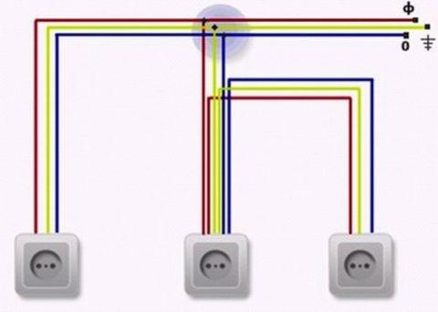 Схема подключения нескольких одиночных розеток