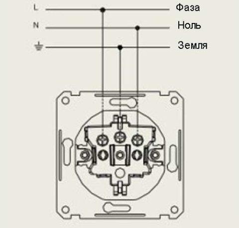Схема подключения розетки в распределительной коробке