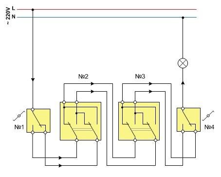 Схема управления освещением из четырех мест