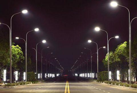 Двухрядное освещение улицы