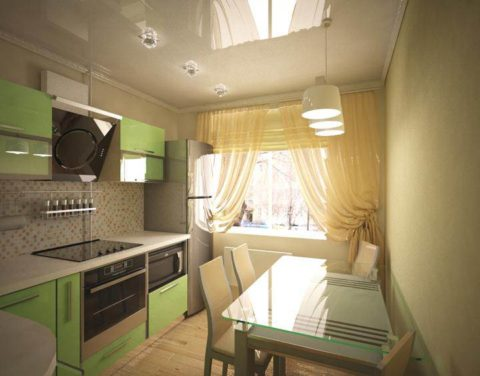 На фото - общее освещение для маленькой кухни с разделением на зоны