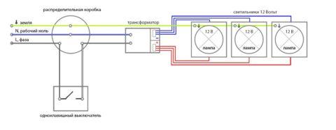 Подключение нескольких светильников 12В от одного трансформатора