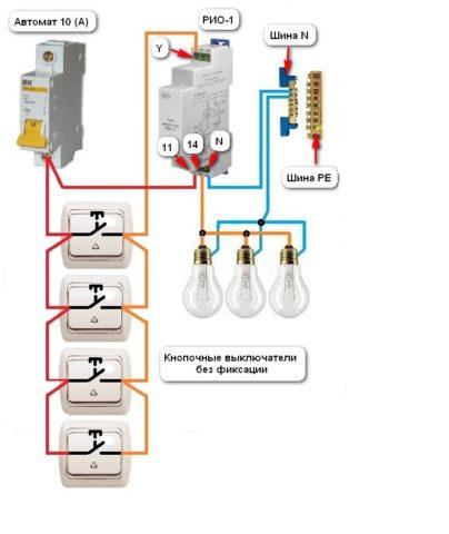 Схема подключения для управления освещением импульсным реле из 4 мест