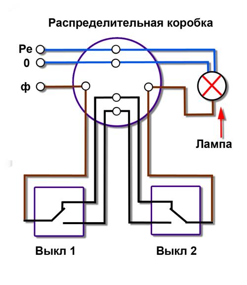 Схема подключения проходного выключателя на два светильники